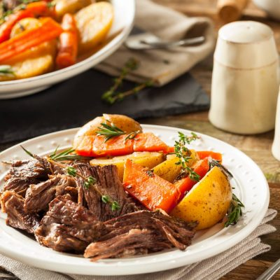 Bison Pot Roast, Braised with Red Wine